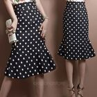 New Womens Vintage Polka Dot High Waist Party Cocktail Mermaid Pencil Midi Skirt