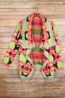 NEON YELLOW CORAL HOT PINK TRIBAL CARDIGAN Aztec Print Sweater Jacket NEW S M L