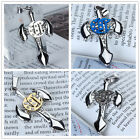 Cool Mens Stainless Steel rhinestones Battle Axe Cross Pendant for Necklace DIY