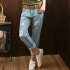 XK0016 Hot Sale Korean Casual large size And ankle-length With hole jeans