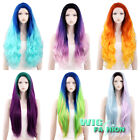 "18""-28"" Long Purple Pink Orange Blue Multi-color Lace Front Synthetic Wig"