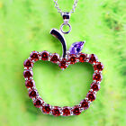Apple Round Cut Garnet Morganite Black Spinel Gemstone Silver Pendant Necklace