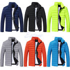 Men Jacket Cotton Padded Stand Collar Parka Winter Warm Thick Overcoat Outwear
