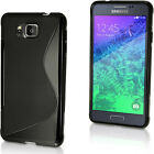 S Line TPU Gel Skin Case Cover for Samsung Galaxy Alpha SM-G850 + Screen Prot