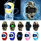 Cool Men's Boy's Waterproof LED Light Sports Silicone Rubber Band Wrist Watch