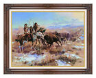 Framed Art Print The Wounded Buffalo Charles Russell Western Hunt Hunting Repro