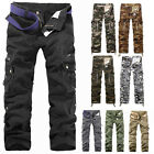 Hot Men's Casual Military Army Cargo Combat Zipper Camo Trousers Work Pants