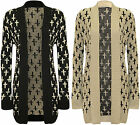 NEW GOTHIC CROSS PRINT LONG SLEEVE OPEN KNITTED BOYFRIEND CARDIGAN SIZE 8-14