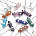 1pc Hexagon Prism Beads Healing Point Chakra Gemstones Crystal Pendant Necklace
