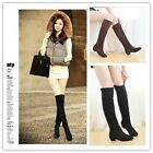 Women Winter Over Knee Faux Suede Stretch Thigh High Slouch Heel Boot Shoe -S