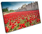 City Tower of London Poppies SINGLE CANVAS WALL ART Picture Print VA