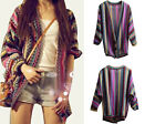 Vintage Rainbow Weave Stripes Boho Ethnic Knit Sweater Cardigan Tops Coat jumper