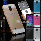 Luxury Metal Aluminum Bumper Frame +PC Back Cover Case for Samsung Galaxy Note 4