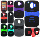 For AT&T ZTE Compel Z830 HYBRID Hard Gel Rubber KICKSTAND Case Phone Cover