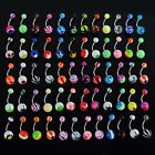 30/60/80/100Pcs Colorful Acrylic Belly Navel Barbells Bar Rings Body Piercing