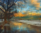 Winter Fenceline (original landscape American art print)