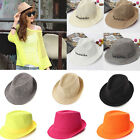 Men Women Cowboy Beach Sun Jazz Straw Hollow Panama Neon Cap Fedora Trilby Hat