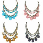 Womens Crystal Bib Statement Necklace Resin Chunky Collar Pendant Chain Jewelry