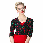 Collectif Jenny Cherry Print 50s Vintage Cropped Wrap Cardigan Top