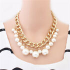 Womens Jewelry Pearl Necklace Chain Statement Bib Chunky Collar Pendant Fashion