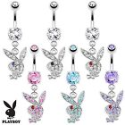 Multi Paved Gem Playboy Bunny Dangle Belly Navel Ring Body Jewelry