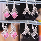 Hot! Womens Swarovski Crystal Silver Plated Earring Dangle Pink/Black Jewelry