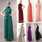 Lady Long Cocktail Evening Party Vintage Chiffon Ruffle Neck Maxi Dress Plussize