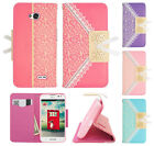 For LG Realm LS620 Leather Lace Pattern Wallet Case Pouch Cover + Screen Guard