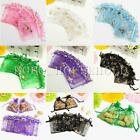 100X Butterfly Organza Bags Drawstring Wedding Gift Jewellery Candy Pouch 7X9cm