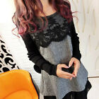 Womens Long Sleeve Tunic Casual Day Shift Lace Ruffles Party Cocktail Mini Dress