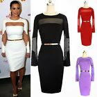 Celebrity Ladies Bodycon Sexy Slit Women's Formal Party Wiggle Pencil Dress Belt