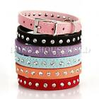 Adjustable Pet Puppy Dog Collar Suede PU Leather Rhinestone Stud Strap Buckle