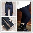 Girl Elegant Bow Leggings Winter Thick Warm Elastic Waist Children Jeggings - CB
