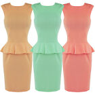 Womens Ladies New Fitted Peplum Bodycon Wiggle Pencil Work Career Dress