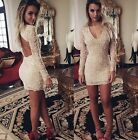Modish Womens V Neck Bandage Lace Evening Backless Sexy Party Cocktail Dress - S