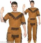 Indian Fancy Dress Mens Native American Red Indian Brave Chief Costume M + L
