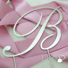 Initial Monogram Silver ENGLISH Wedding Cake Topper