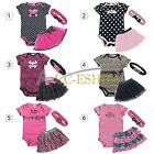 NEW Baby Girl 3pc set romper + dress + headband size00 0 1 2 outfit