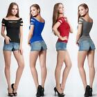 Sexy Women T-Shirt Cut Out Crew Neck Short Sleeve Ripped Top Night Club Wear