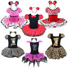 Minnie Mouse HALLOWEEN Girl Birthday Party Tutu Costume Dress Up + Ear Headband
