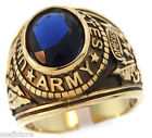 Mens US Army Montana Blue Stone Military 18kt Gold Plated Stainless Steel Ring