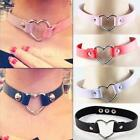 1pcs Punk Goth Rivet Handmade Chain PU Leather O-Ring Heart Choker Necklace HLRG