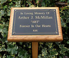Solid Oak Memorial Grave Tree Marker Stake Custom Engraved 6x4 Plaque Included