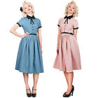 Collectif Cynthia Doll Vintage 50s Retro Pleated Party Prom Flared Tea Dress