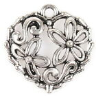 50/250pcs 145197 New Flowers Heart Plated Vintage Silver Charms Alloy Pendants