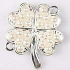 10/50pcs 145124 Hot Clover Pearls Charms Plated Silver Alloy Connector Pendants