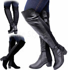 Ladies Womens Over The Knee Thigh High Mid Heel Stretch Pull On Boots Shoes Size