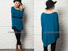 TEAL BLUE ASYMMETRICAL LONG SLEEVE Top Off the Shoulder Loose Shirt Tunic S M L