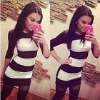 Fashion Women Bodycon Half Sleeve Stripe Party Cocktail Mini Dress Reliable