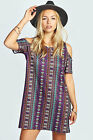 Boohoos Womens Shanna Aztec Print Shift Dress